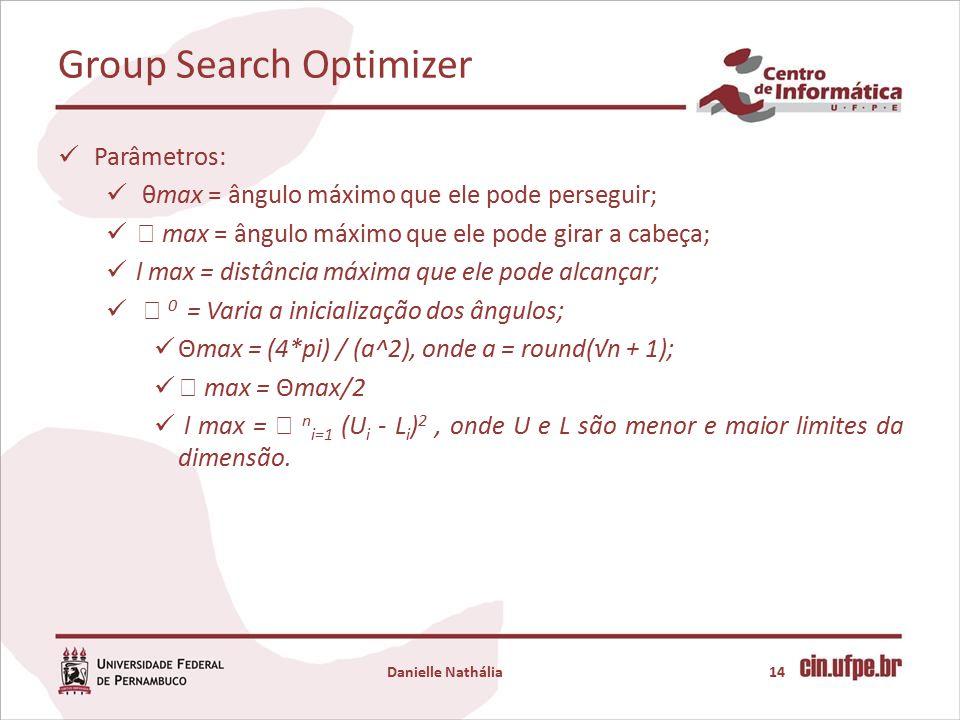 Group Search Optimizer Danielle Nathália14 Parâmetros: θmax = ângulo máximo que ele pode perseguir;  max = ângulo máximo que ele pode girar a cabeça; l max = distância máxima que ele pode alcançar;  0 = Varia a inicialização dos ângulos; Θmax = (4*pi) / (a^2), onde a = round(√n + 1);  max = Θmax/2 l max =  n i=1 (U i - L i ) 2, onde U e L são menor e maior limites da dimensão.