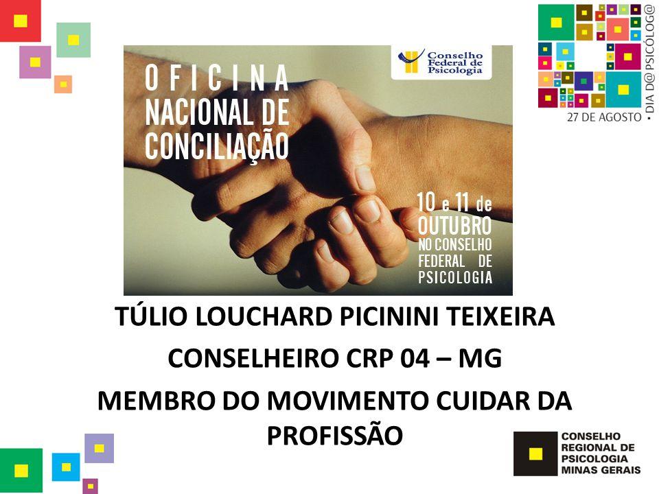 TÚLIO LOUCHARD PICININI TEIXEIRA CONSELHEIRO CRP 04 – MG MEMBRO DO MOVIMENTO CUIDAR DA PROFISSÃO