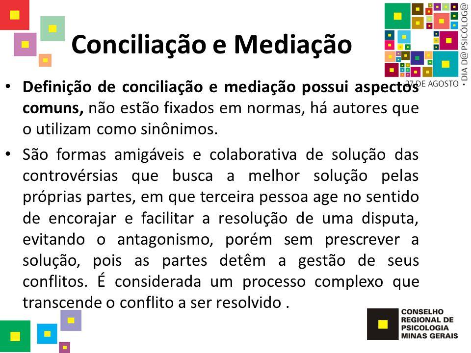 Conciliação e Mediação Definição de conciliação e mediação possui aspectos comuns, não estão fixados em normas, há autores que o utilizam como sinônim