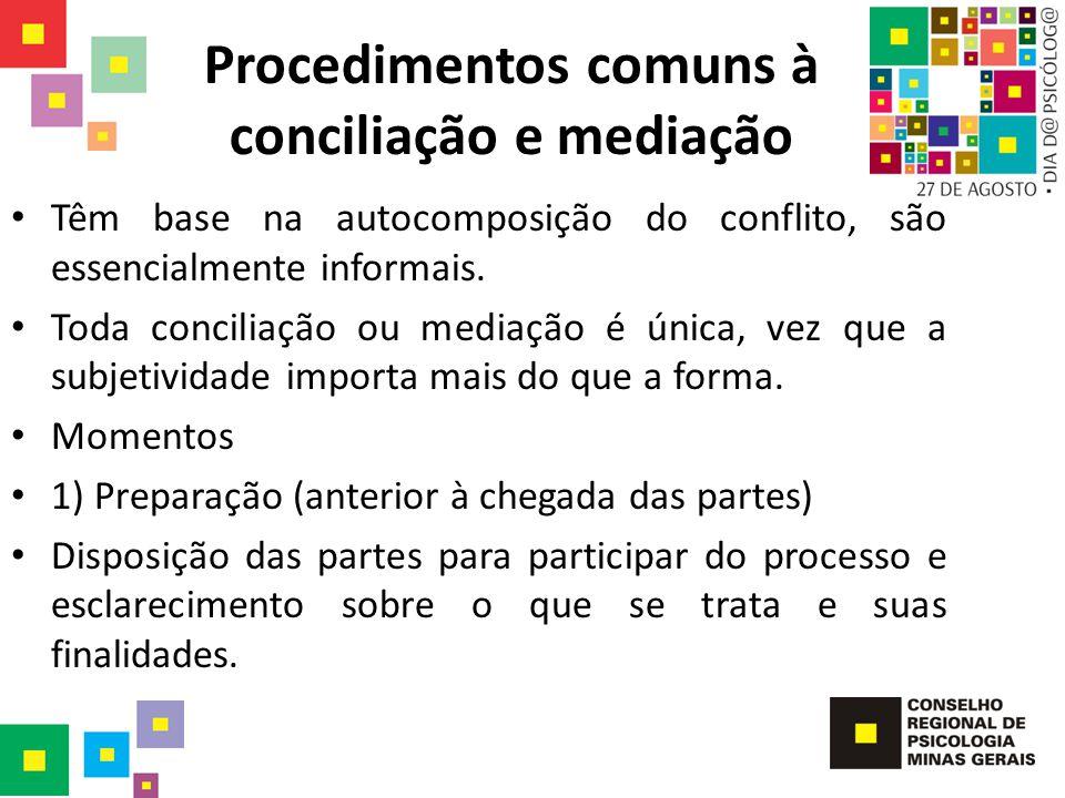 Procedimentos comuns à conciliação e mediação Têm base na autocomposição do conflito, são essencialmente informais. Toda conciliação ou mediação é úni
