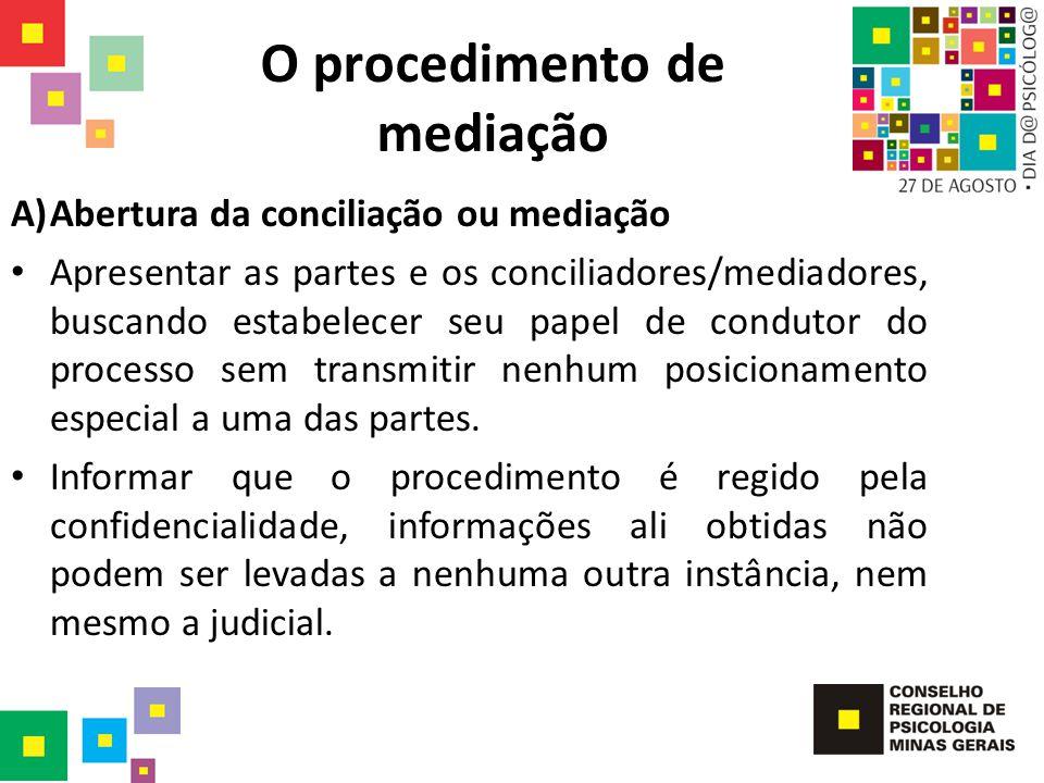 O procedimento de mediação A)Abertura da conciliação ou mediação Apresentar as partes e os conciliadores/mediadores, buscando estabelecer seu papel de