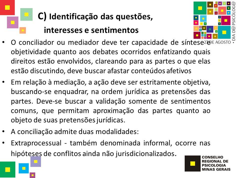 C) Identificação das questões, interesses e sentimentos O conciliador ou mediador deve ter capacidade de síntese e objetividade quanto aos debates oco