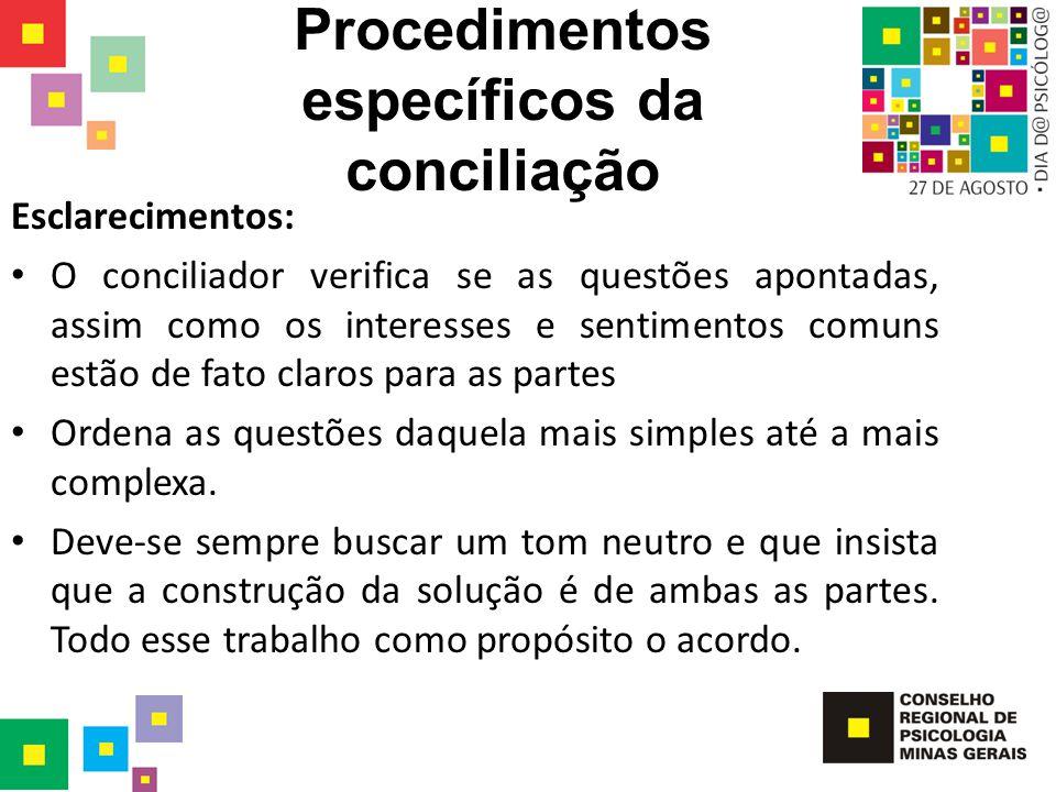 Procedimentos específicos da conciliação Esclarecimentos: O conciliador verifica se as questões apontadas, assim como os interesses e sentimentos comu