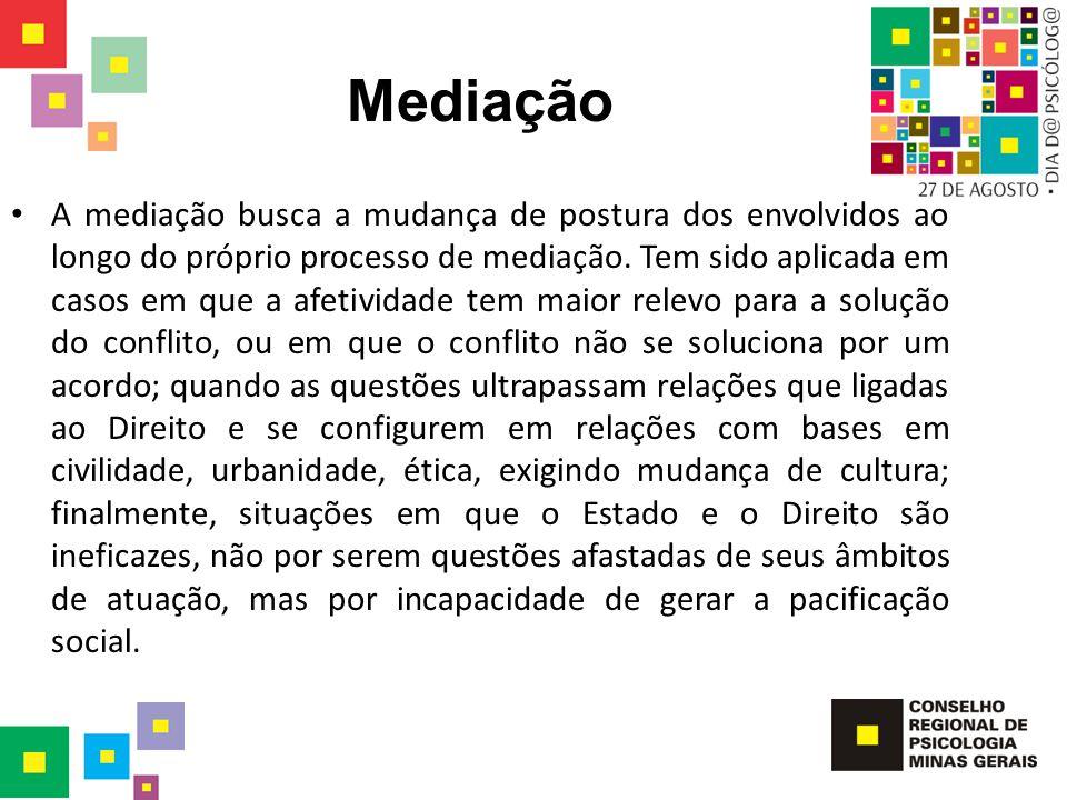 Mediação A mediação busca a mudança de postura dos envolvidos ao longo do próprio processo de mediação. Tem sido aplicada em casos em que a afetividad
