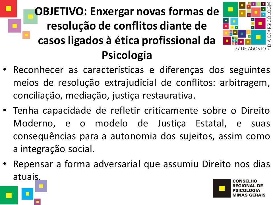 OBJETIVO: Enxergar novas formas de resolução de conflitos diante de casos ligados à ética profissional da Psicologia Reconhecer as características e d