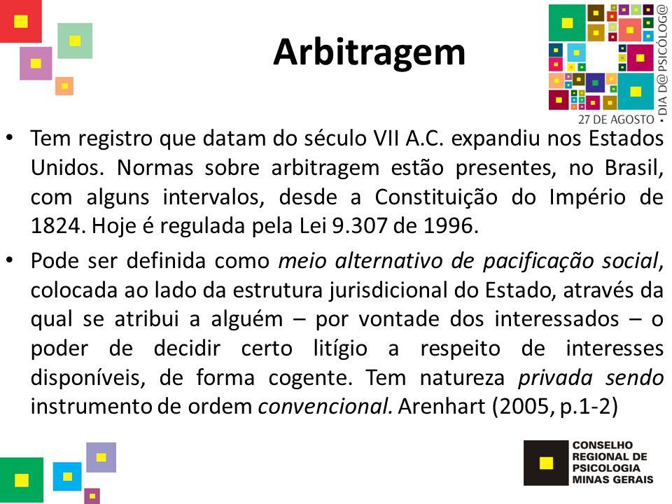 Arbitragem Tem registro que datam do século VII A.C. expandiu nos Estados Unidos. Normas sobre arbitragem estão presentes, no Brasil, com alguns inter