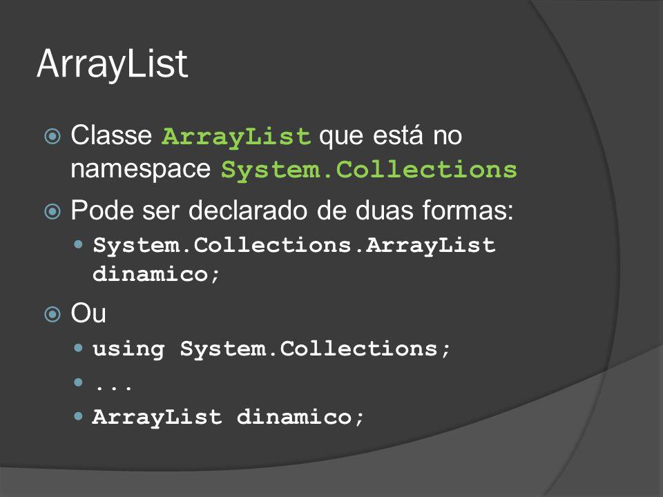 ArrayList  Classe ArrayList que está no namespace System.Collections  Pode ser declarado de duas formas: System.Collections.ArrayList dinamico;  Ou