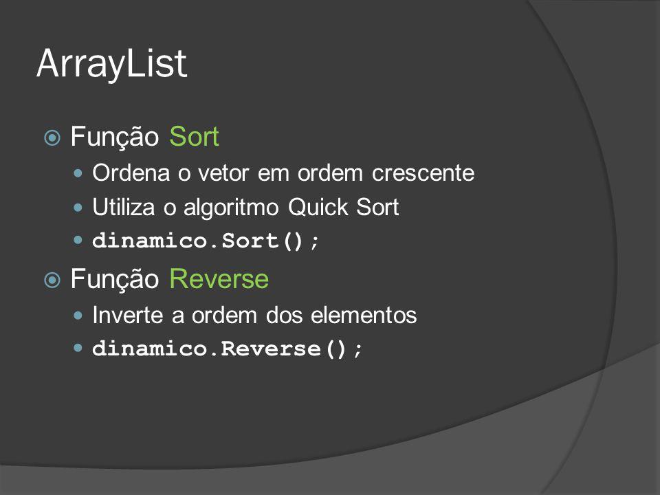ArrayList  Função Sort Ordena o vetor em ordem crescente Utiliza o algoritmo Quick Sort dinamico.Sort();  Função Reverse Inverte a ordem dos element