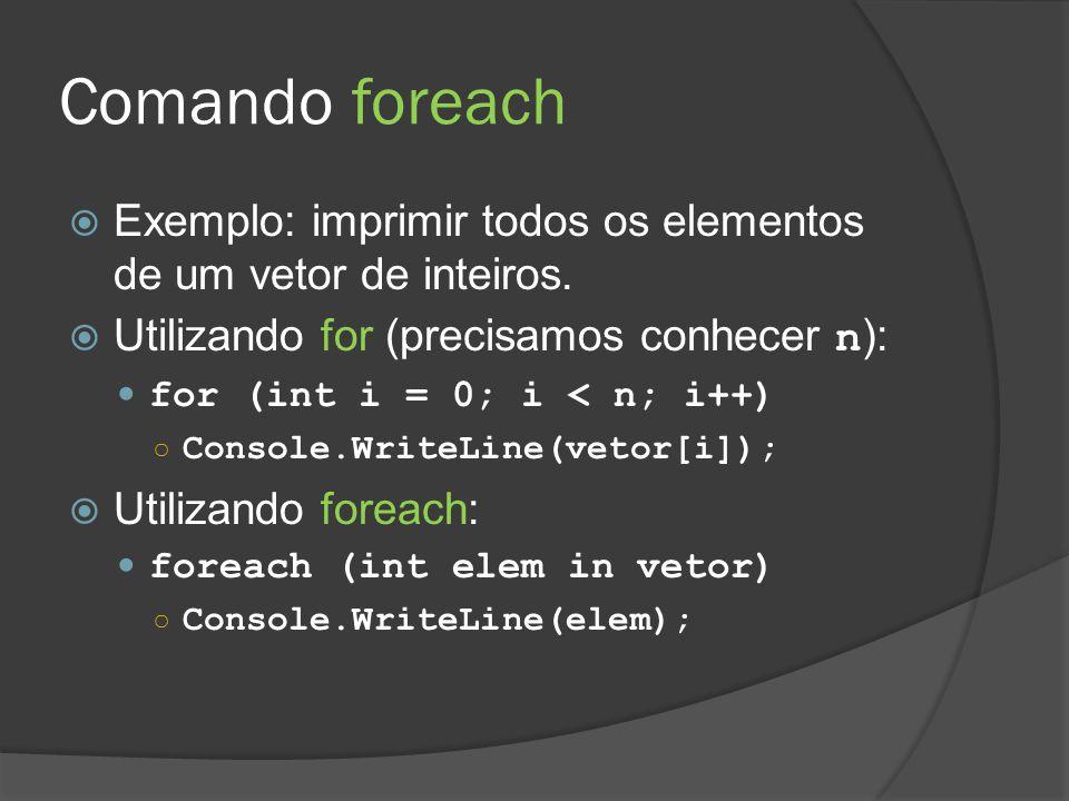 Comando foreach  Exemplo: imprimir todos os elementos de um vetor de inteiros.  Utilizando for (precisamos conhecer n ): for (int i = 0; i < n; i++)