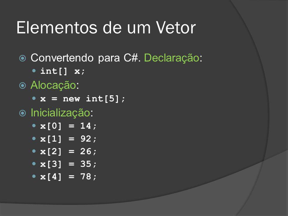 Elementos de um Vetor  Convertendo para C#. Declaração: int[] x;  Alocação: x = new int[5];  Inicialização: x[0] = 14; x[1] = 92; x[2] = 26; x[3] =