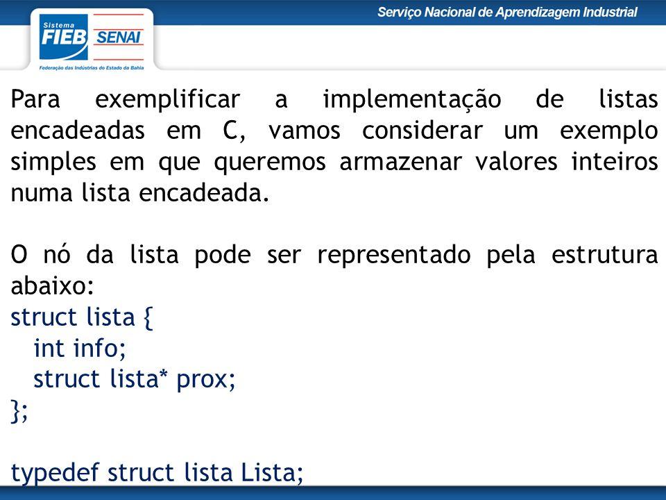 Para exemplificar a implementação de listas encadeadas em C, vamos considerar um exemplo simples em que queremos armazenar valores inteiros numa lista encadeada.