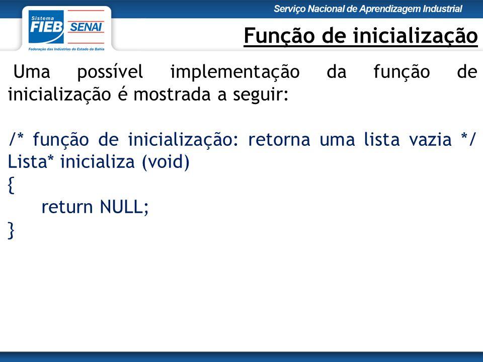 Função de inicialização Uma possível implementação da função de inicialização é mostrada a seguir: /* função de inicialização: retorna uma lista vazia */ Lista* inicializa (void) { return NULL; }