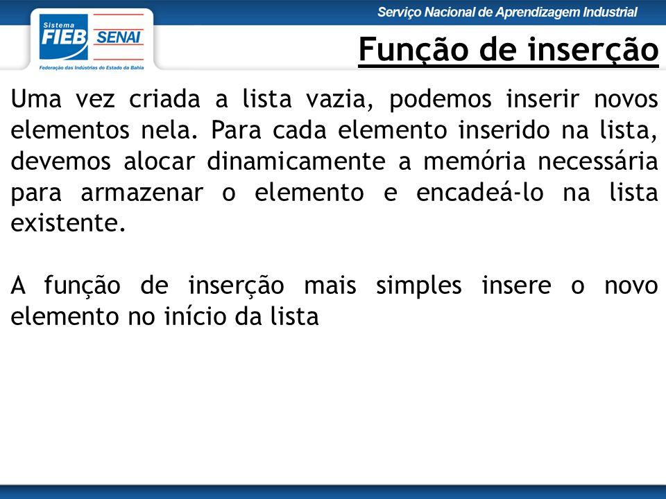 Função de inserção Uma vez criada a lista vazia, podemos inserir novos elementos nela.