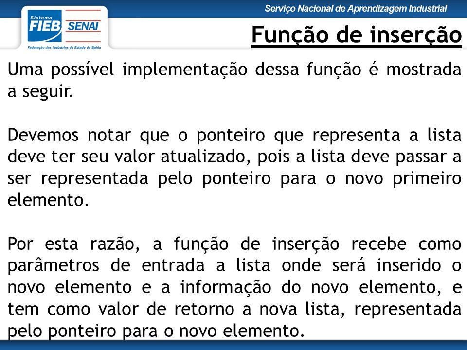 Função de inserção Uma possível implementação dessa função é mostrada a seguir.