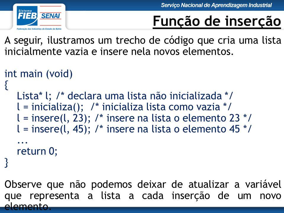 Função de inserção A seguir, ilustramos um trecho de código que cria uma lista inicialmente vazia e insere nela novos elementos.