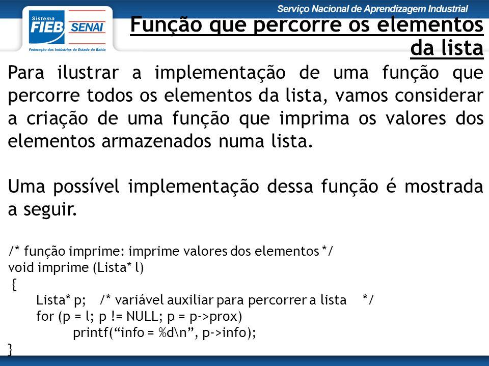 Função que percorre os elementos da lista Para ilustrar a implementação de uma função que percorre todos os elementos da lista, vamos considerar a criação de uma função que imprima os valores dos elementos armazenados numa lista.
