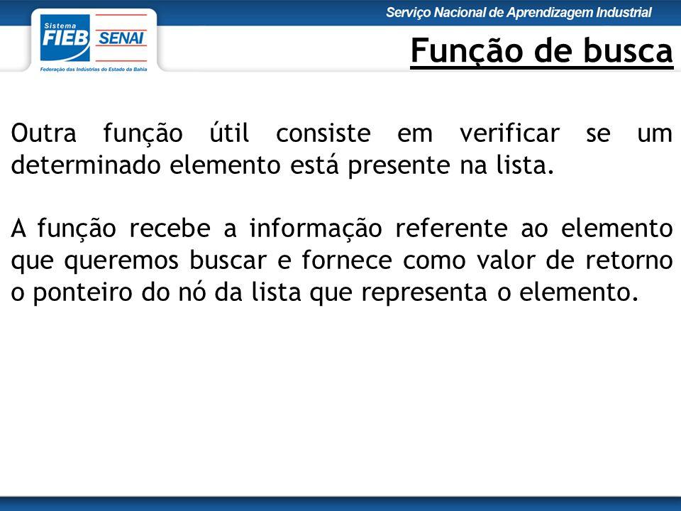 Função de busca Outra função útil consiste em verificar se um determinado elemento está presente na lista.
