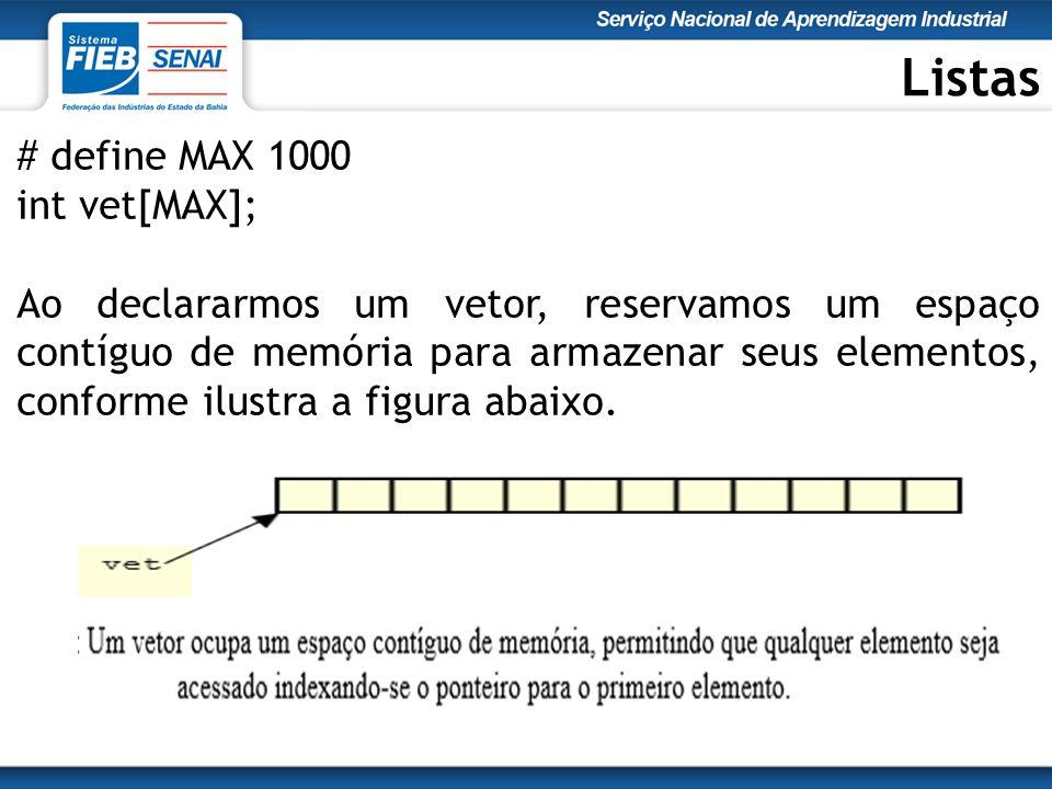 Listas # define MAX 1000 int vet[MAX]; Ao declararmos um vetor, reservamos um espaço contíguo de memória para armazenar seus elementos, conforme ilustra a figura abaixo.