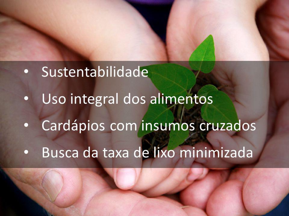 Sustentabilidade Uso integral dos alimentos Cardápios com insumos cruzados Busca da taxa de lixo minimizada