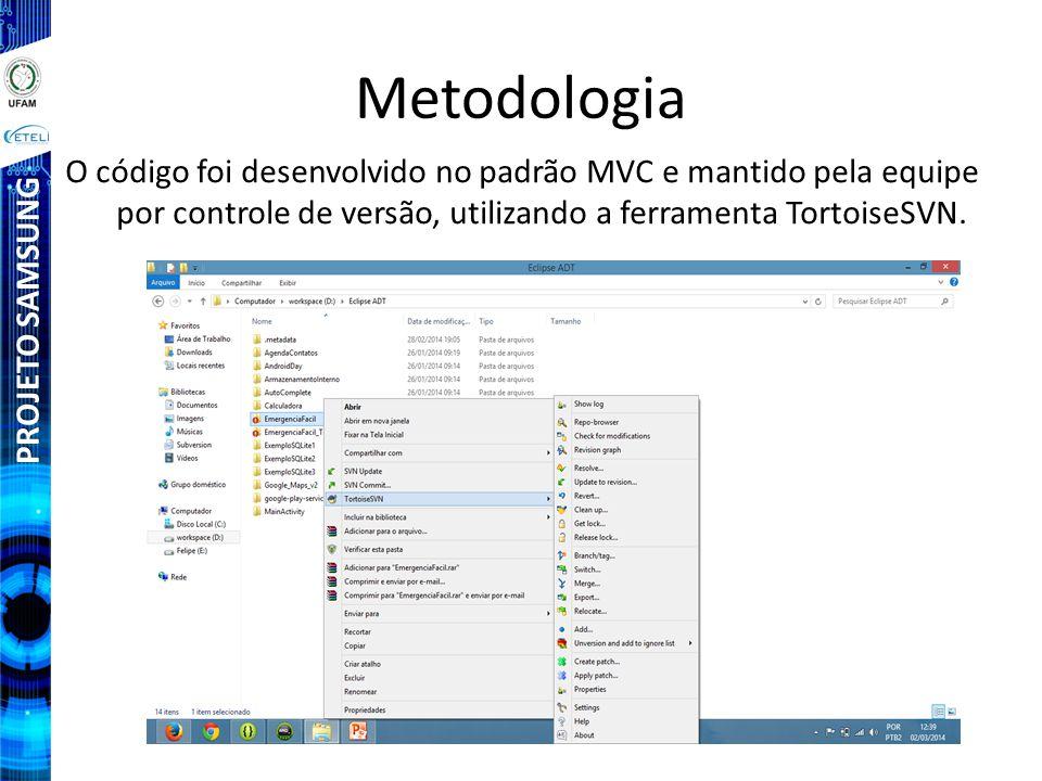 PROJETO SAMSUNG Metodologia O código foi desenvolvido no padrão MVC e mantido pela equipe por controle de versão, utilizando a ferramenta TortoiseSVN.