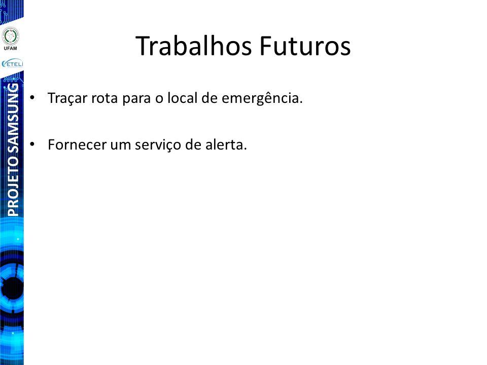 PROJETO SAMSUNG Trabalhos Futuros Traçar rota para o local de emergência. Fornecer um serviço de alerta.