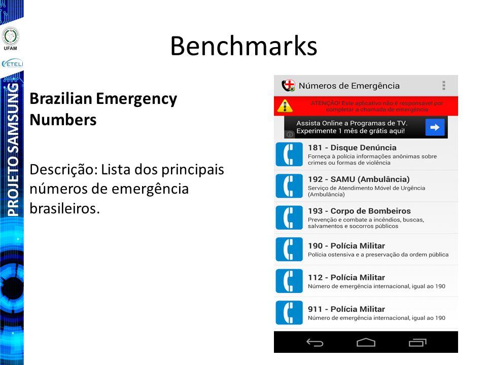 PROJETO SAMSUNG Benchmarks Brazilian Emergency Numbers Descrição: Lista dos principais números de emergência brasileiros.