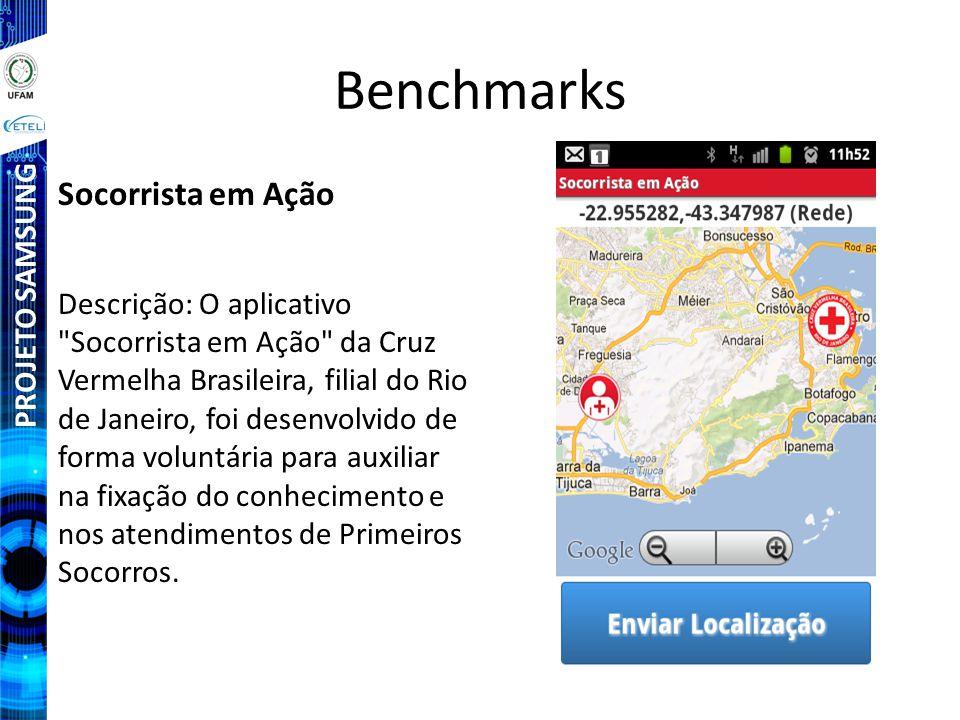 PROJETO SAMSUNG Benchmarks Socorrista em Ação Descrição: O aplicativo