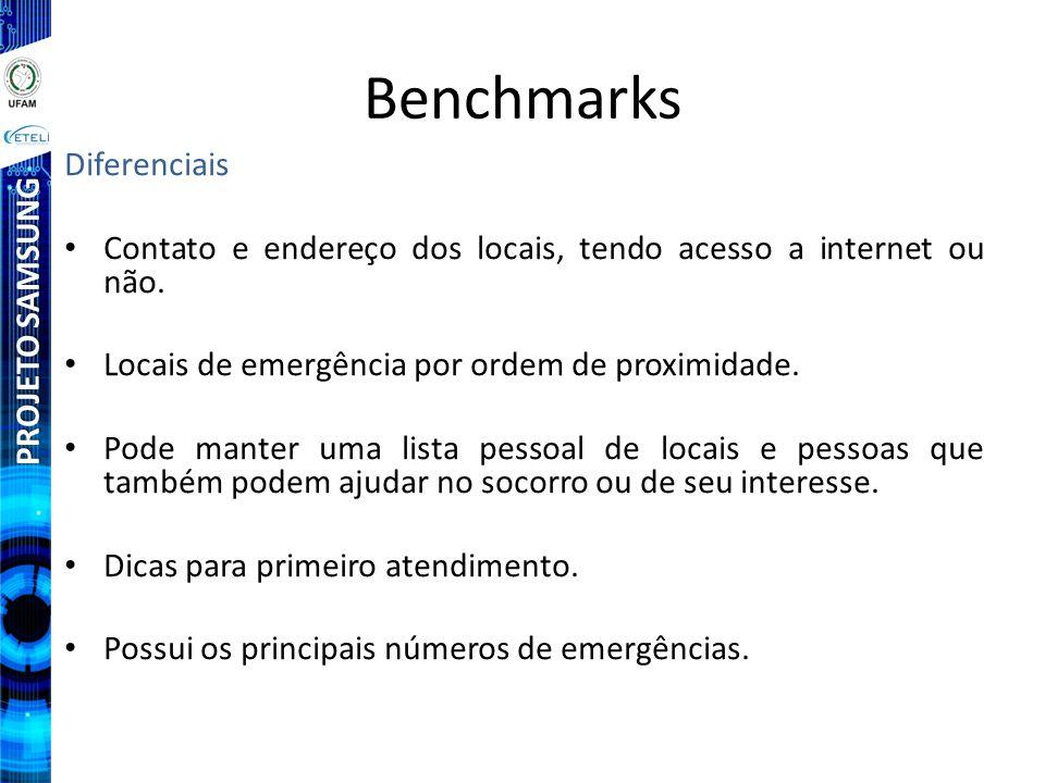 PROJETO SAMSUNG Benchmarks Diferenciais Contato e endereço dos locais, tendo acesso a internet ou não. Locais de emergência por ordem de proximidade.