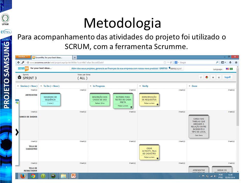PROJETO SAMSUNG Metodologia Para acompanhamento das atividades do projeto foi utilizado o SCRUM, com a ferramenta Scrumme.