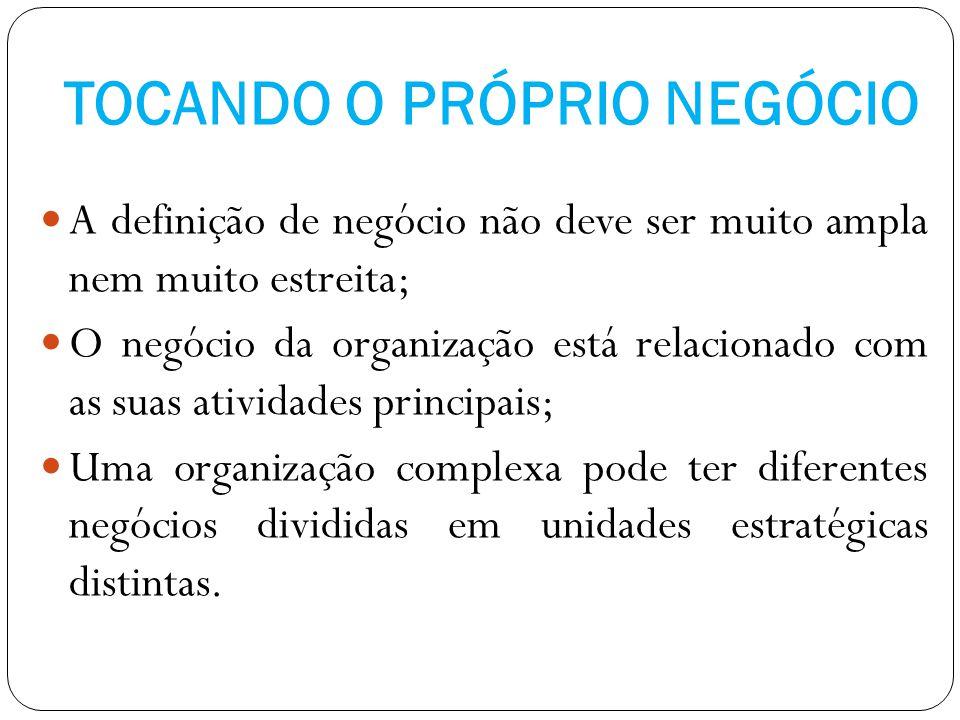 TOCANDO O PRÓPRIO NEGÓCIO A definição de negócio não deve ser muito ampla nem muito estreita; O negócio da organização está relacionado com as suas at