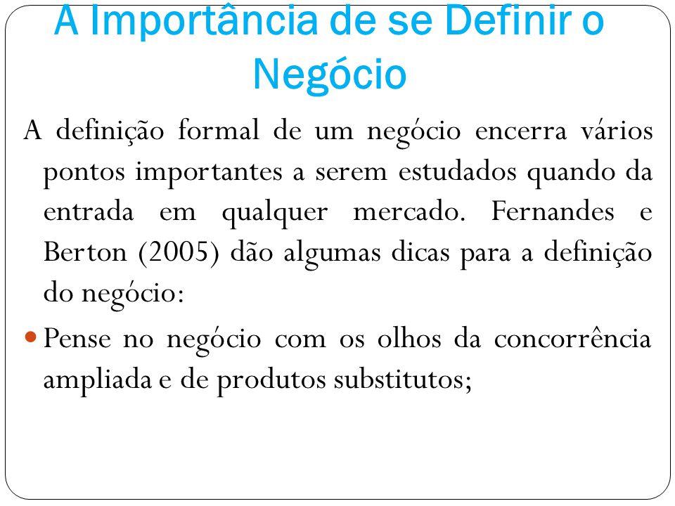 A Importância de se Definir o Negócio A definição formal de um negócio encerra vários pontos importantes a serem estudados quando da entrada em qualqu