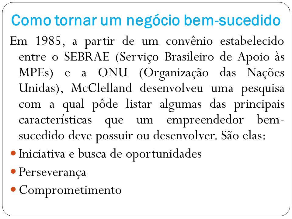 Como tornar um negócio bem-sucedido Em 1985, a partir de um convênio estabelecido entre o SEBRAE (Serviço Brasileiro de Apoio às MPEs) e a ONU (Organi