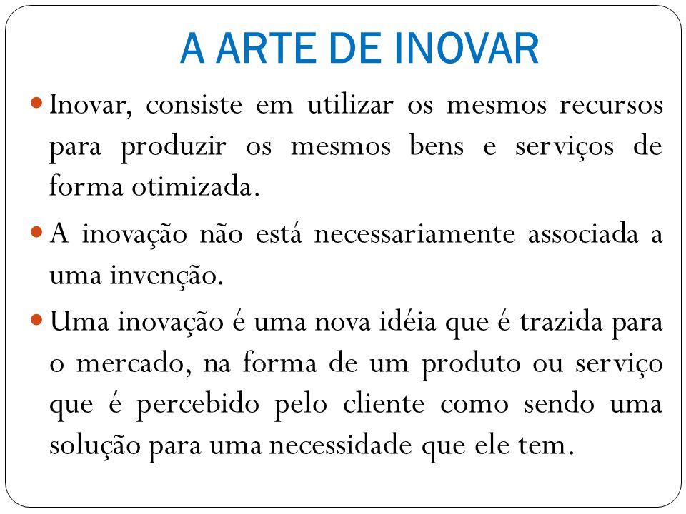 A ARTE DE INOVAR Em ultima análise, a inovação refere-se à habilidade de utilizar soluções criativas ao lidar com os problemas e oportunidades, a fim de que as pessoas possam viver melhor.