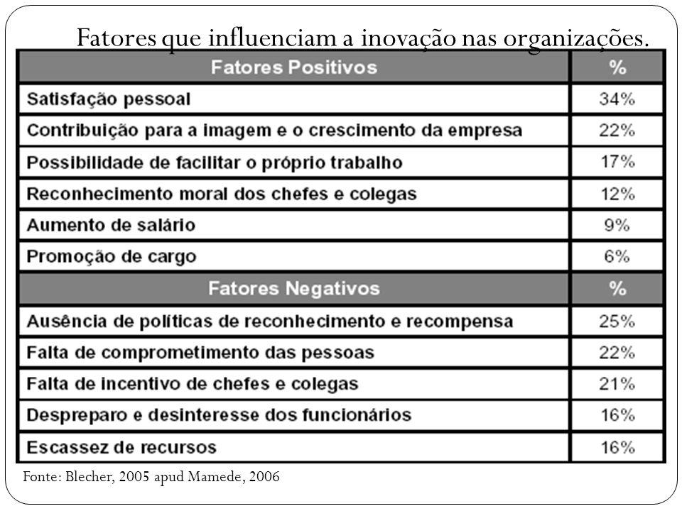 Fonte: Blecher, 2005 apud Mamede, 2006 Fatores que influenciam a inovação nas organizações.
