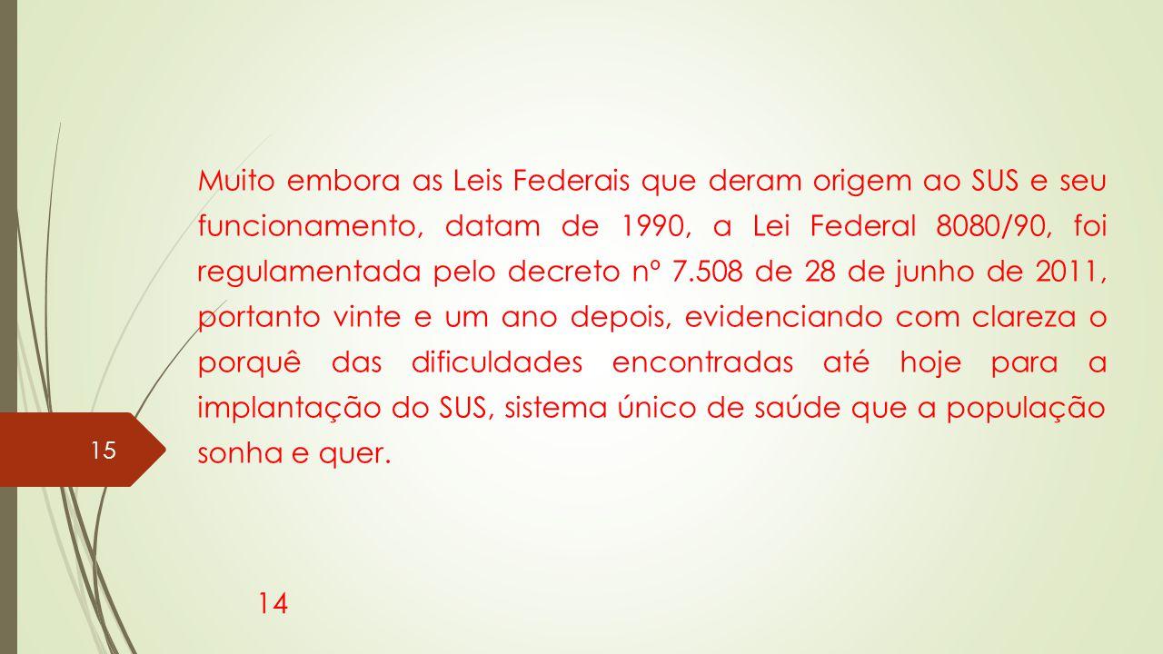 Muito embora as Leis Federais que deram origem ao SUS e seu funcionamento, datam de 1990, a Lei Federal 8080/90, foi regulamentada pelo decreto nº 7.5