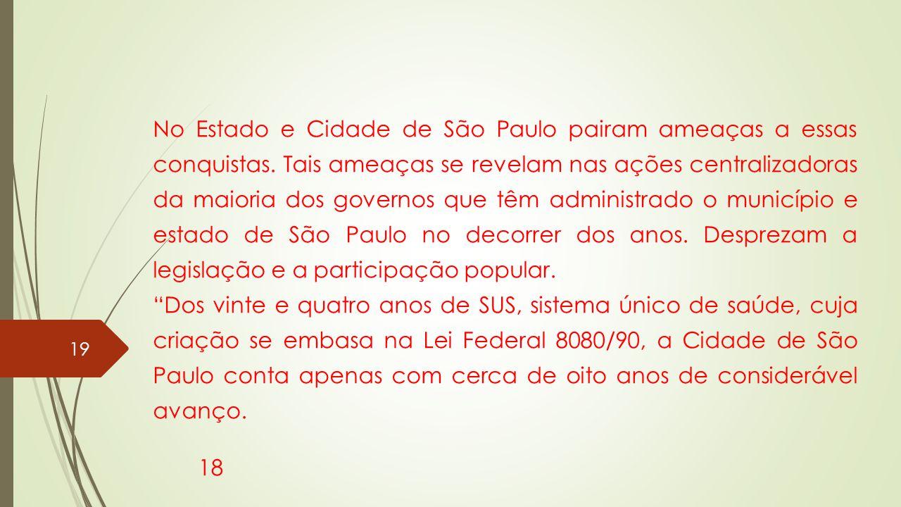 No Estado e Cidade de São Paulo pairam ameaças a essas conquistas. Tais ameaças se revelam nas ações centralizadoras da maioria dos governos que têm a