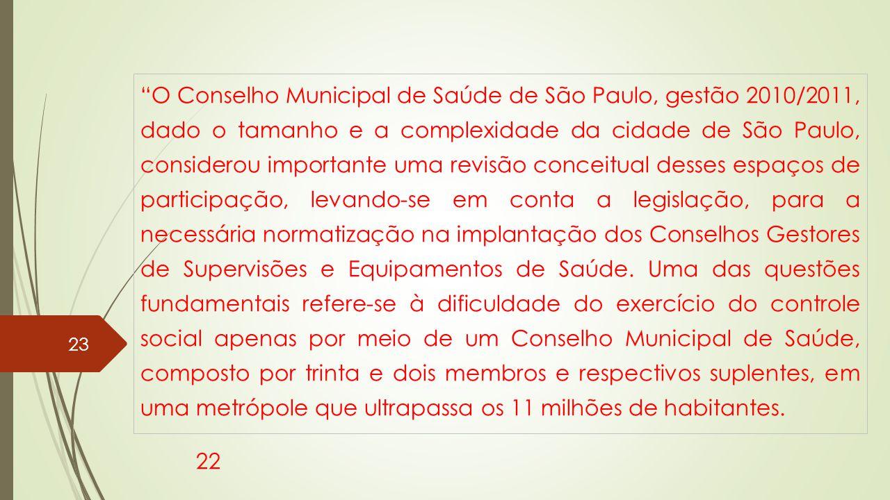 O Conselho Municipal de Saúde de São Paulo, gestão 2010/2011, dado o tamanho e a complexidade da cidade de São Paulo, considerou importante uma revisão conceitual desses espaços de participação, levando-se em conta a legislação, para a necessária normatização na implantação dos Conselhos Gestores de Supervisões e Equipamentos de Saúde.