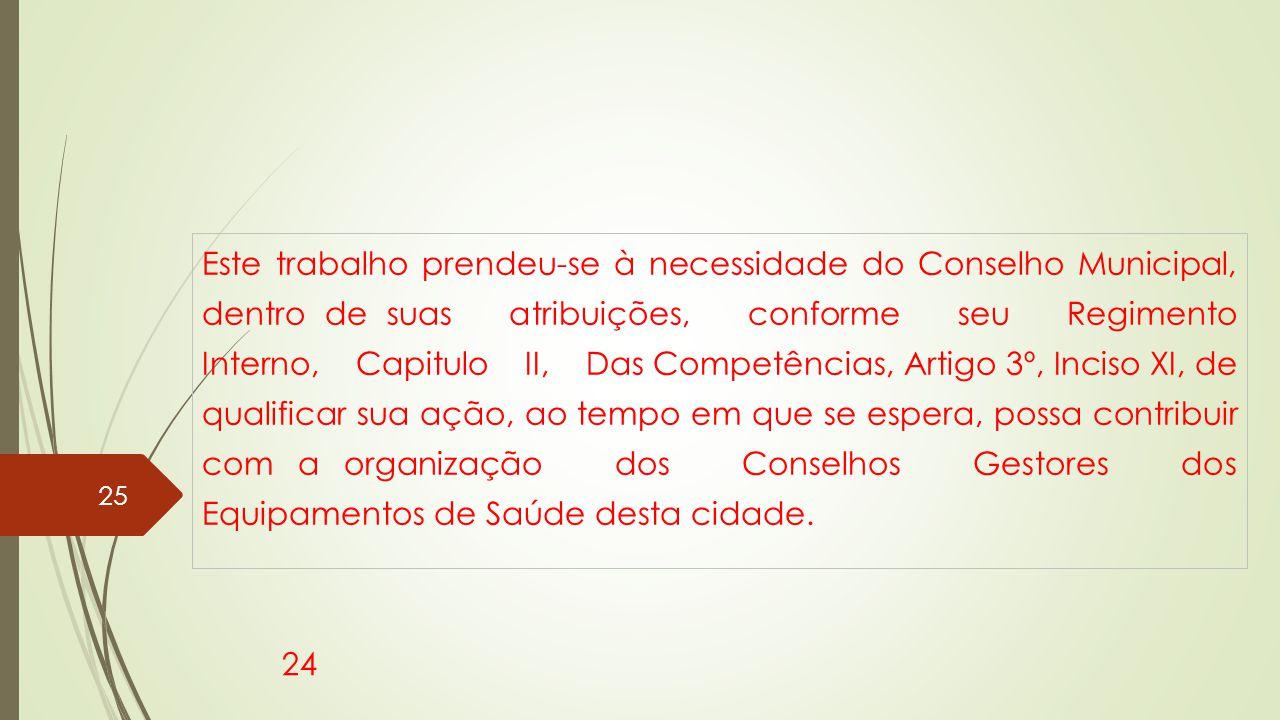 Este trabalho prendeu-se à necessidade do Conselho Municipal, dentro de suas atribuições, conforme seu Regimento Interno, Capitulo II, Das Competência
