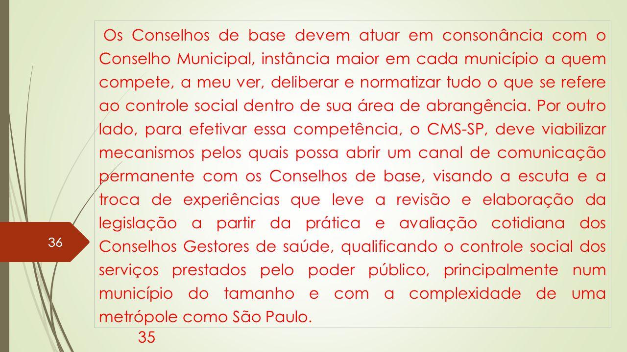 Os Conselhos de base devem atuar em consonância com o Conselho Municipal, instância maior em cada município a quem compete, a meu ver, deliberar e normatizar tudo o que se refere ao controle social dentro de sua área de abrangência.