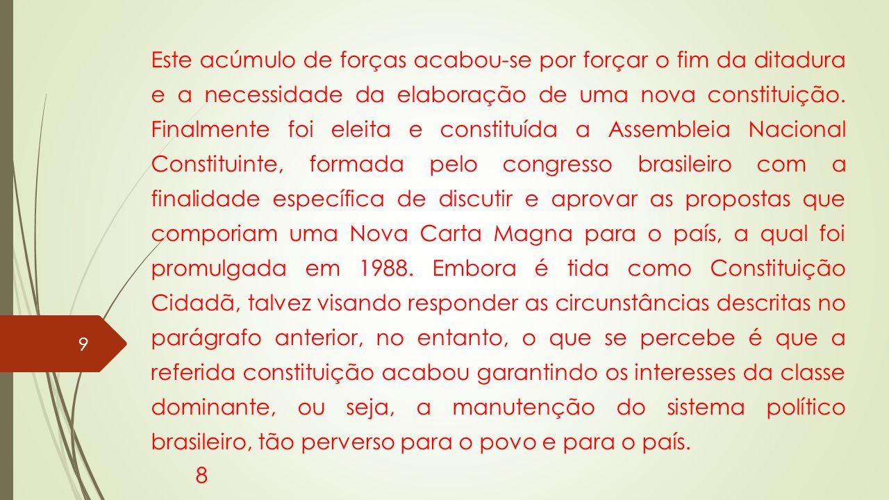 Este acúmulo de forças acabou-se por forçar o fim da ditadura e a necessidade da elaboração de uma nova constituição.