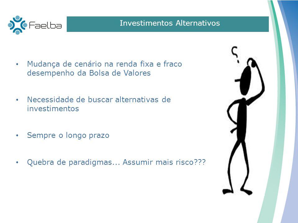 Mudança de cenário na renda fixa e fraco desempenho da Bolsa de Valores Necessidade de buscar alternativas de investimentos Sempre o longo prazo Quebr