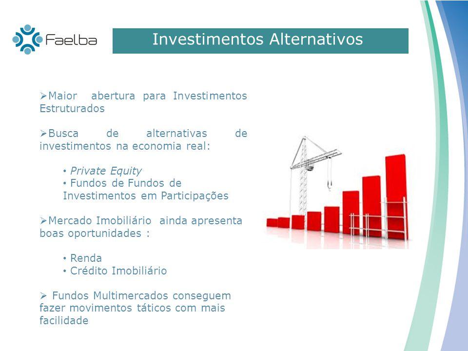 Investimentos Alternativos  Maior abertura para Investimentos Estruturados  Busca de alternativas de investimentos na economia real: Private Equity