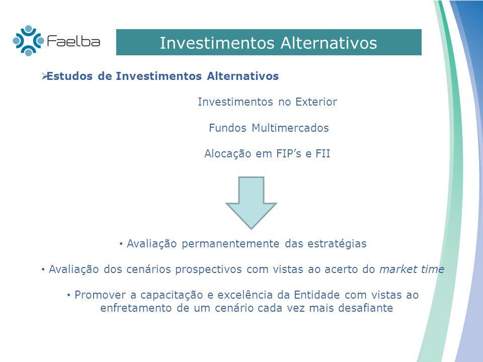 Investimentos Alternativos  Estudos de Investimentos Alternativos Investimentos no Exterior Fundos Multimercados Alocação em FIP's e FII Avaliação pe