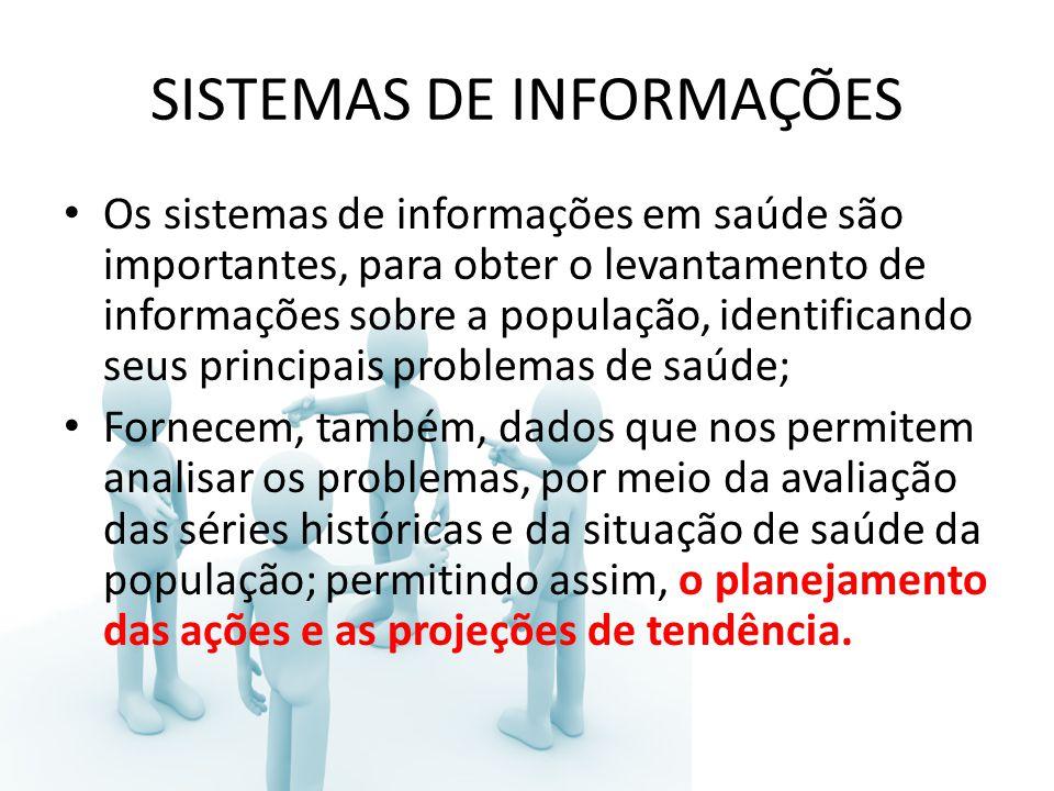 SISTEMAS DE INFORMAÇÕES Os sistemas de informações em saúde são importantes, para obter o levantamento de informações sobre a população, identificando