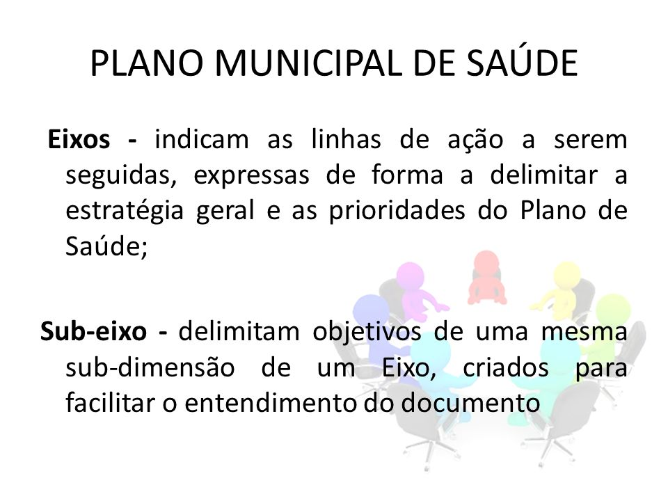 PLANO MUNICIPAL DE SAÚDE Eixos - indicam as linhas de ação a serem seguidas, expressas de forma a delimitar a estratégia geral e as prioridades do Pla