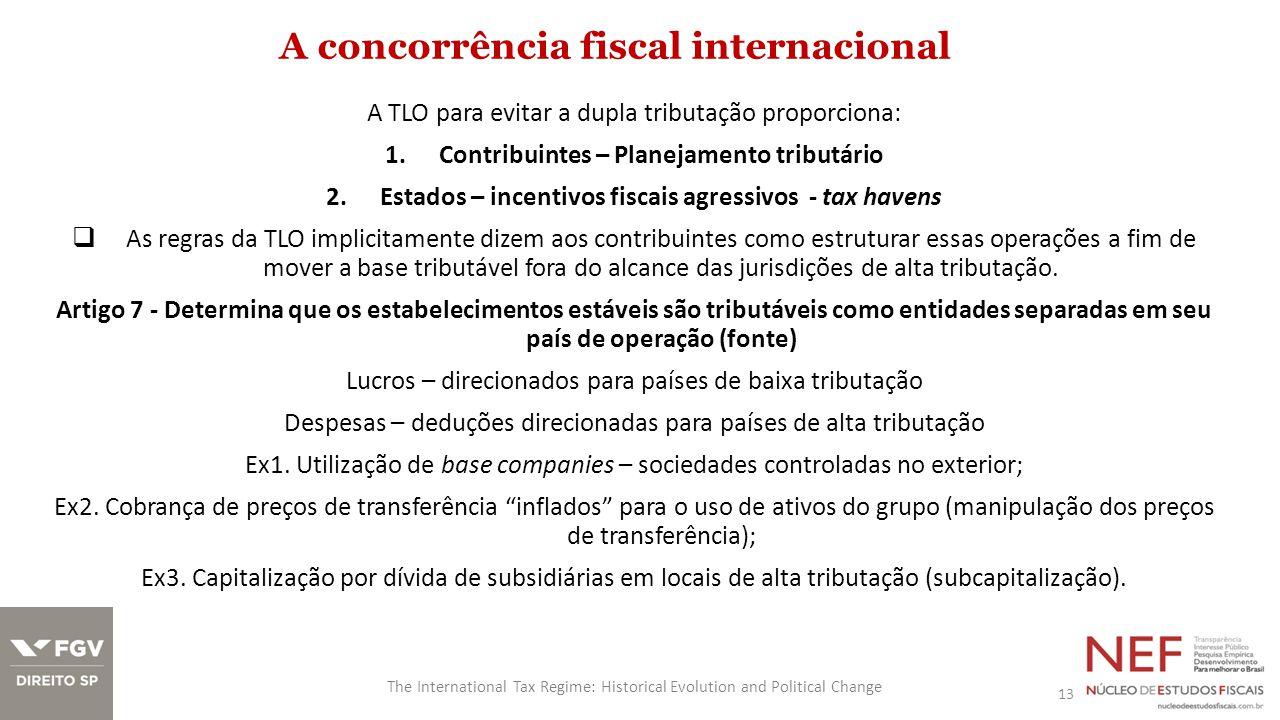A concorrência fiscal internacional 13 The International Tax Regime: Historical Evolution and Political Change A TLO para evitar a dupla tributação pr