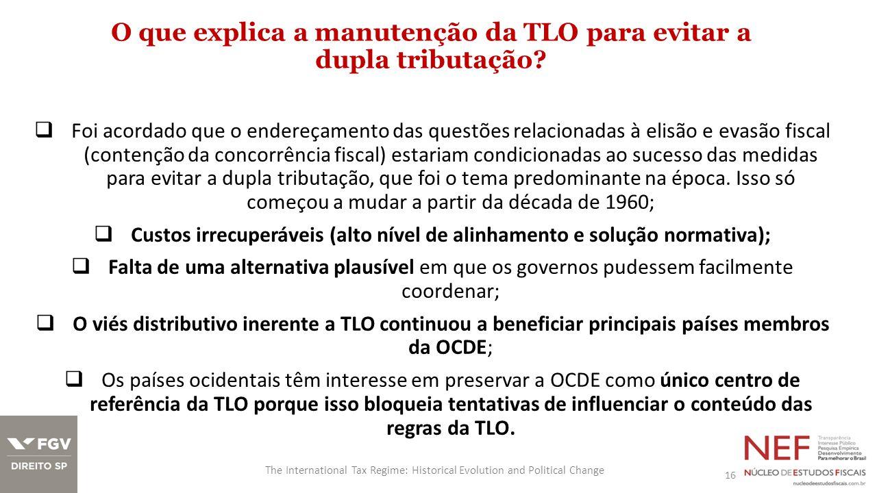 O que explica a manutenção da TLO para evitar a dupla tributação.