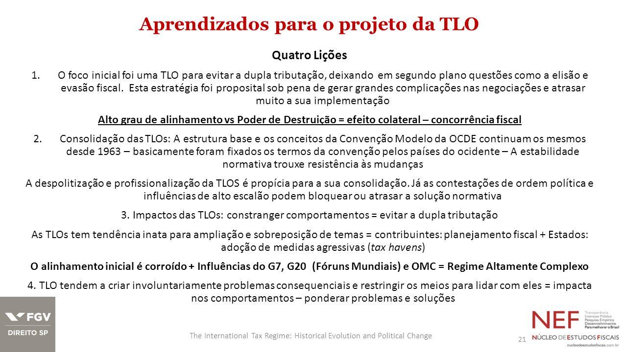 Aprendizados para o projeto da TLO 21 The International Tax Regime: Historical Evolution and Political Change Quatro Lições 1.O foco inicial foi uma T