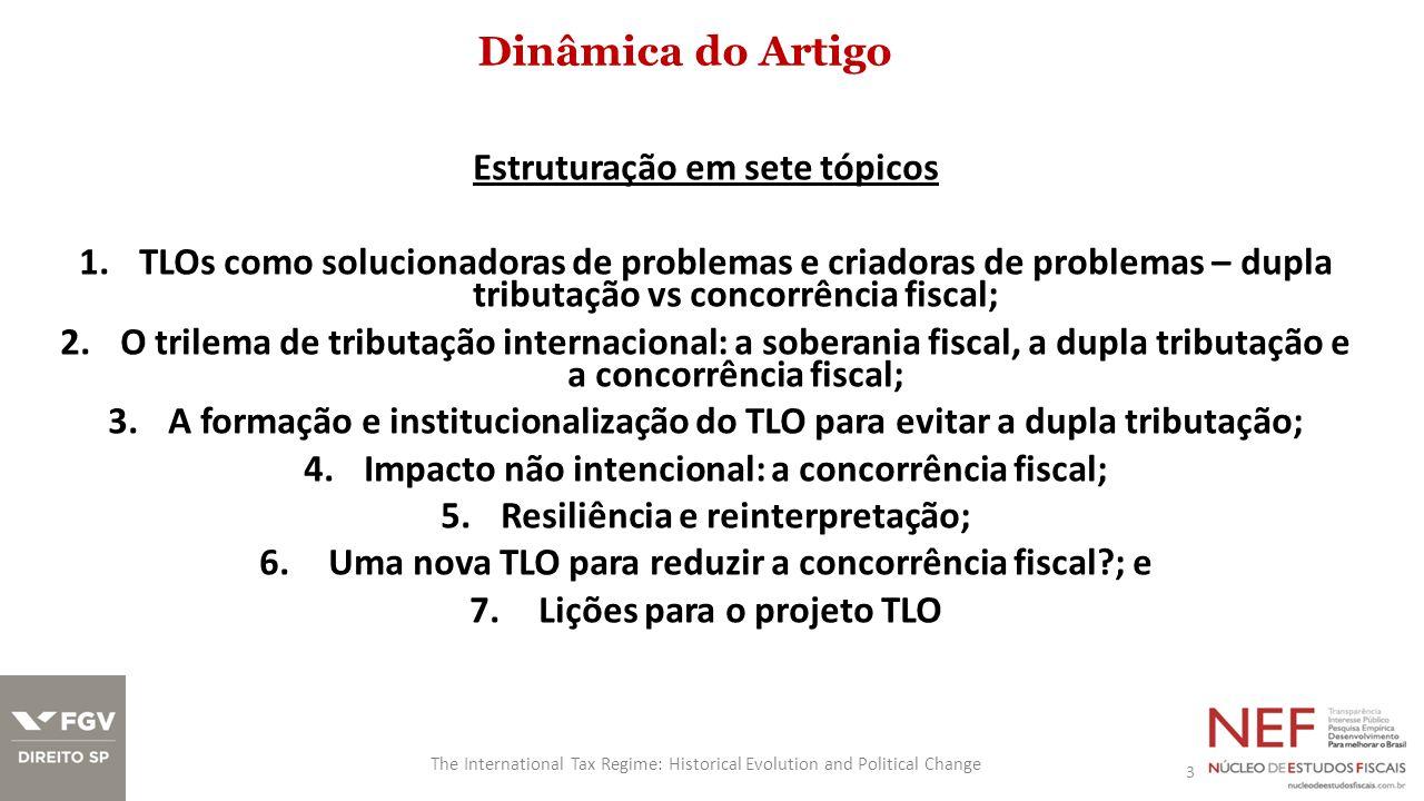 Dinâmica do Artigo 3 The International Tax Regime: Historical Evolution and Political Change Estruturação em sete tópicos 1.TLOs como solucionadoras d