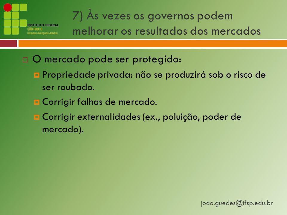 joao.guedes@ifsp.edu.br 7) Às vezes os governos podem melhorar os resultados dos mercados  O mercado pode ser protegido:  Propriedade privada: não se produzirá sob o risco de ser roubado.